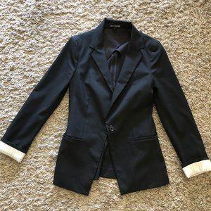 Express structured black blazer coat pinstripe XS